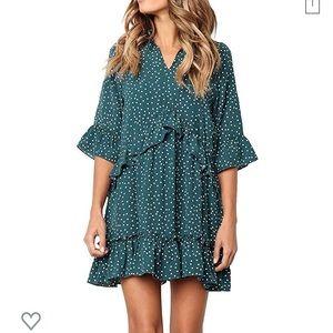Mitilly medium green polka dot dress. Brand new